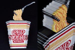 綿棒3600本でカップヌードルを再現! 「麺」と「綿」のダジャレです