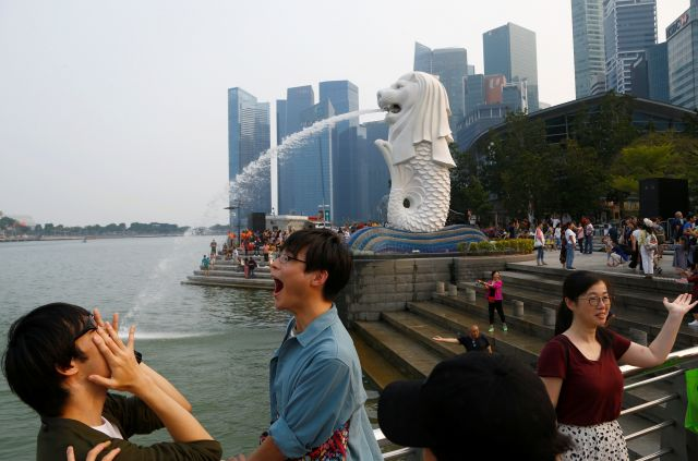シンガポールのシンボルであるマーライオン=2019年9月13日