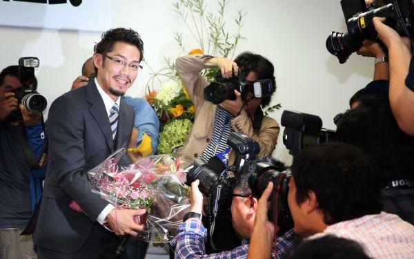2014年、引退会見をした高橋大輔