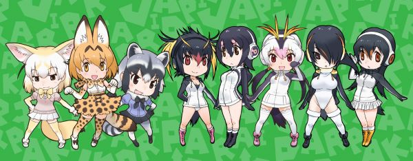 「けものフレンズ」(けもフレ)のキャラクター「アニマルガール」たち。「フレンズ」とも呼ばれる。左からフェネック・サーバル・アライグマ、ペンギンアイドルの「PPP」(ぺパプ)