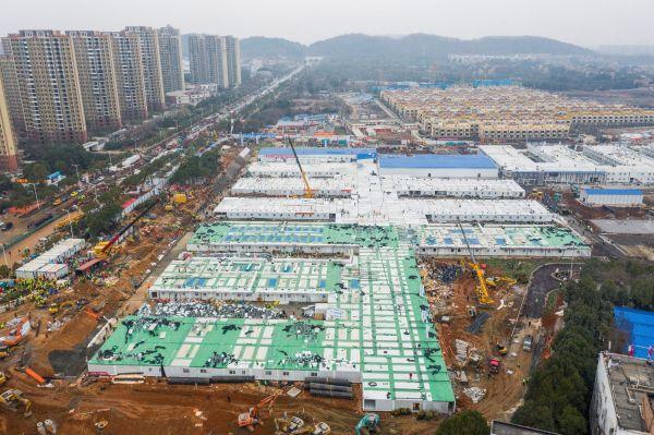 完成した火神山病院の俯瞰図=2020年2月2日、武漢市