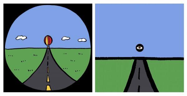 おなじみの気球(左)と、気球側から見たイラスト(右)