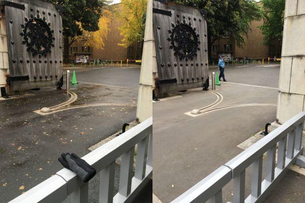 (左)片手袋がある風景(右)ない風景。ひとたび左の写真を見ると、右の写真にも片手袋の存在を意識せざるをえない