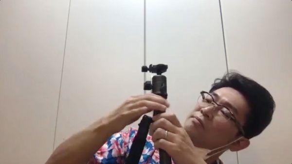 撮影機材のセッティングをするビビる大木さん=テレビ東京提供