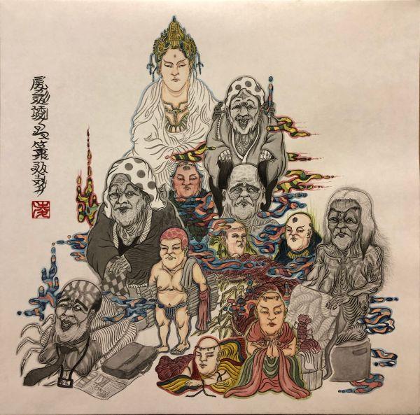 「郡婆図」RYO OGATA 2019  和紙に墨、水彩絵の具