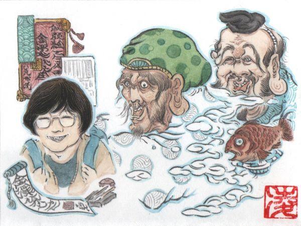 「#似顔絵100人チャレンジ」で描いた記者の似顔絵