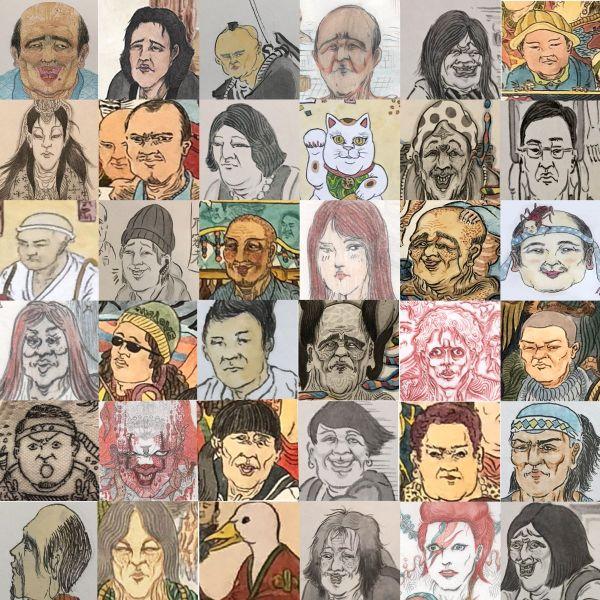「#似顔絵100人チャレンジ」を告知したときの画像。これまで描いた似顔絵を並べた
