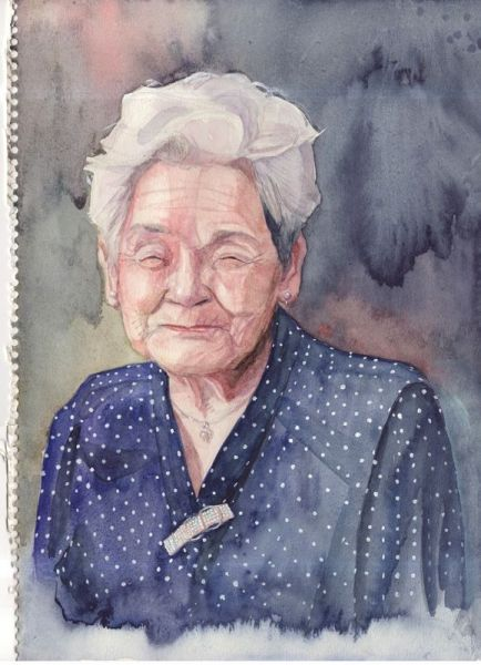 橋さんが高校生の頃に描いた祖母の絵