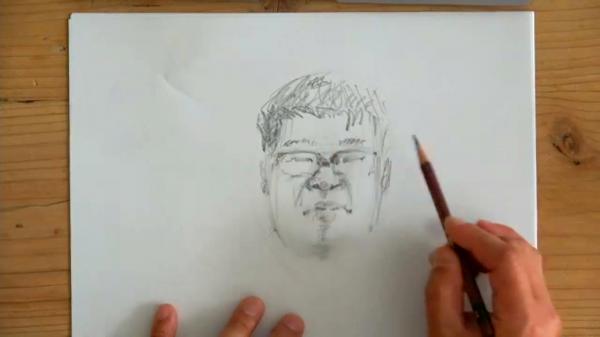記者を「法廷画風」に描いてもらったら……