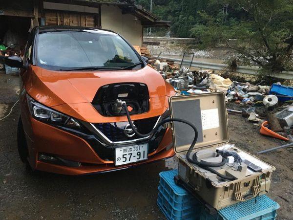 豪雨被害にあった旅館に届いた電気自動車=鶴之湯旅館提供