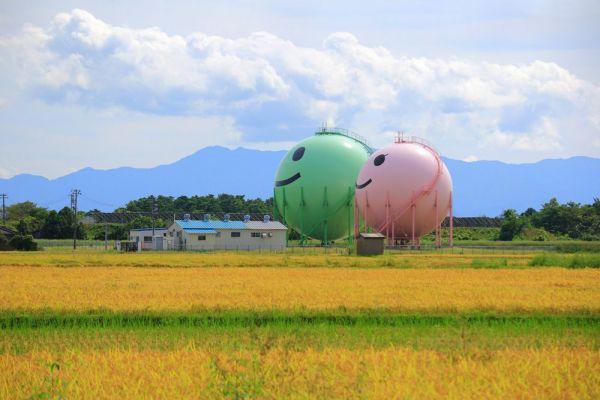 新潟県聖籠町藤寄のニコタンとモモタン。稲穂が波打つ田んぼの真ん中で、優しいほほえみを浮かべている。