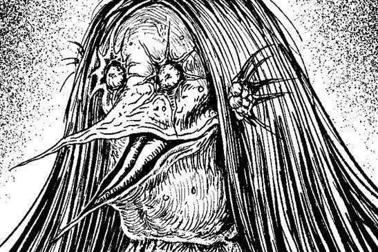 ホラー漫画家の伊藤潤二さんがツイッターに投稿した「アマビエ」。鋭いクチバシも特徴的
