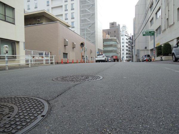 「桜橋ポンプ所」付近の道路で見つけた「ふくらみ」。かつての川の名残を感じる