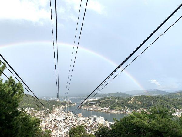 「中の人」が投稿した景色の写真「小雨の後に虹が」