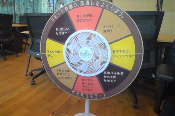 サントリーが製作した「ザツダンマシーン」。実際の扇風機に、八つの雑談テーマが書かれたボードが取り付けられている