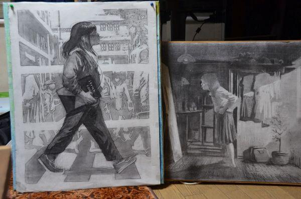 今年8月、23歳で亡くなった月刊少年マガジンに「キミオアライブ」を連載中だった漫画家、恵口公生さんの自画像。左は光、右は陰の部分を描いていると、母は説明する
