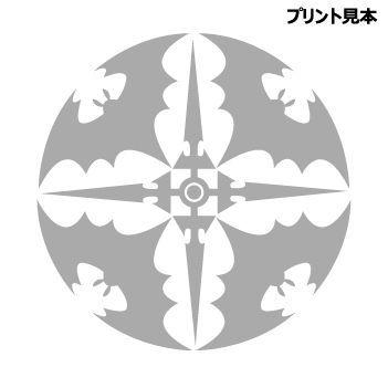 冷感素材マスク(クリアケース付き) 紋章・散蝙蝠 ブラック