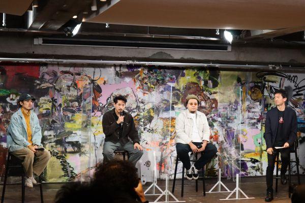 内覧会のトークイベントの様子。トークイベントには、右からGinza Sony Parkプロジェクト主宰の永野大輔さん、PERIMETRONプロデューサーの佐々木集さん、アートディレクター・デザイナーの