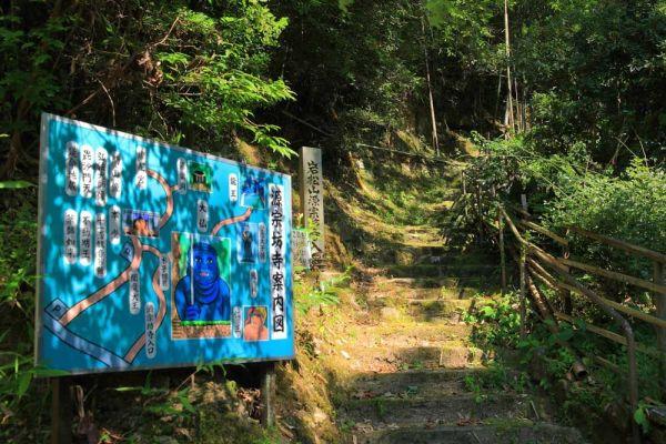 お寺へと続く階段に設置された案内看板