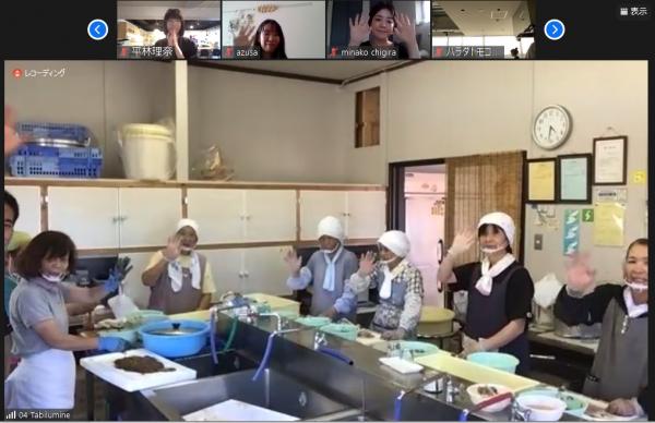 オンライン旅の様子=佐渡の西側にある姫津地区では女性たちがイカの塩辛を作る様子を見せてくれました