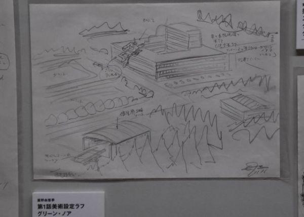 「富野由悠季の世界展」には、富野さんによるラフ画が多く展示されている。写真は「機動戦士Zガンダム」の冒頭に出た「グリーン・ノア」のシーン。ビルに突っ込んだガンダムMk-Ⅱが見える