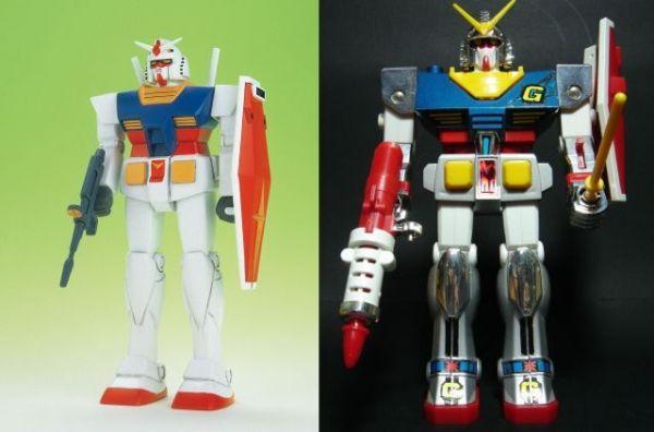 1980年に発売された初代ガンプラ(144分の1)と、最初のスポンサーだった玩具会社「クローバー」が発売したガンダムのおもちゃ。いずれも「富野由悠季の世界展」で展示されている=松本悟さん提供(C)創通
