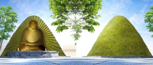 「コロナ大仏」は凸型の「枠」の形をとる予定で、外側は自然と一体化するような構造だという