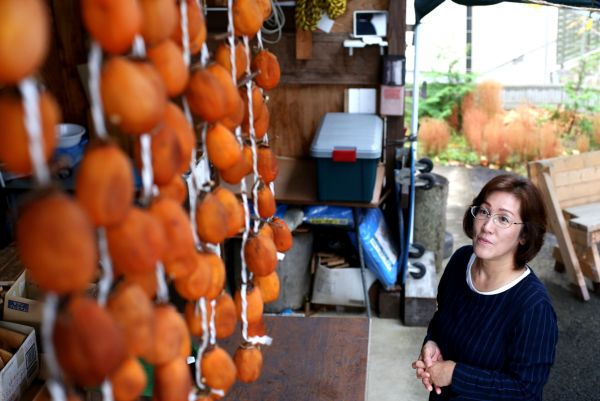 避難先で手作りの干し柿を見つめ、津島での暮らしを振り返る佐々木加代子さん=2020年11月、福島市宮代、三浦英之撮影