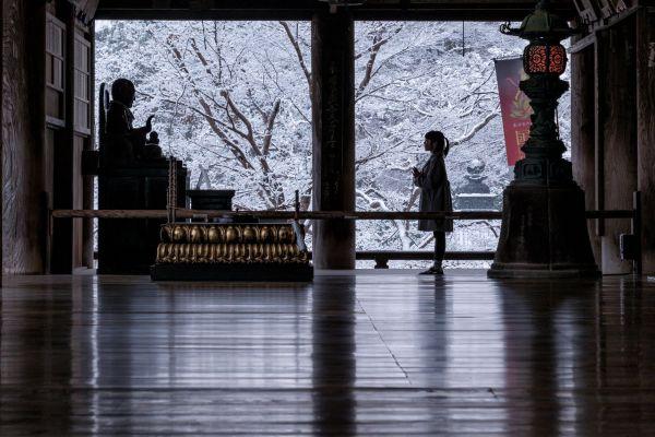 冬の雪=2021年1月の撮影。娘は小学校4年生に