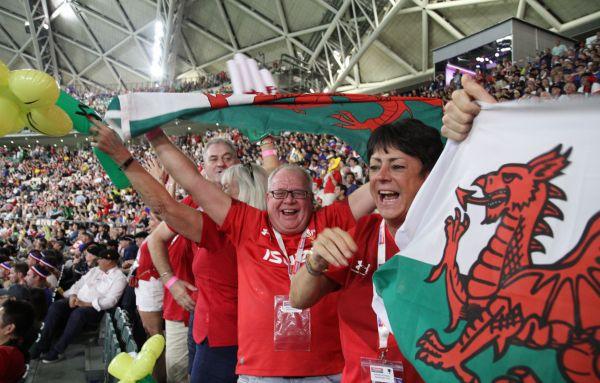 ラグビー日本W杯でのウェールズのファン
