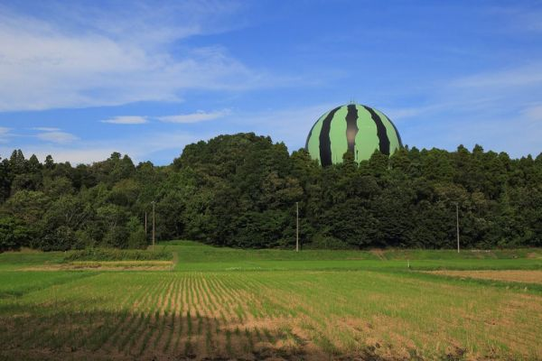千葉県富里市の森から突き出る「巨大スイカ」。その正体はガスホルダー。20年前に造られ、地元のシンボルとなってきたが、解体が決まった。
