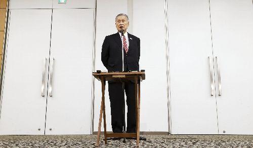 日本オリンピック委員会の女性理事増員方針を巡る発言について記者会見する東京五輪・パラリンピック大会組織委員会の森喜朗会長