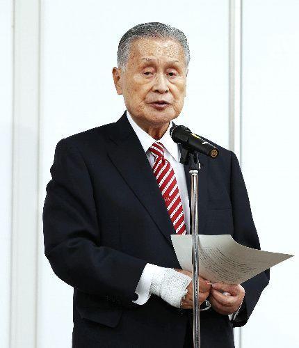 自身の発言について記者会見する東京五輪・パラリンピック大会組織委員会の森喜朗会長=2021年2月4日、東京都中央区