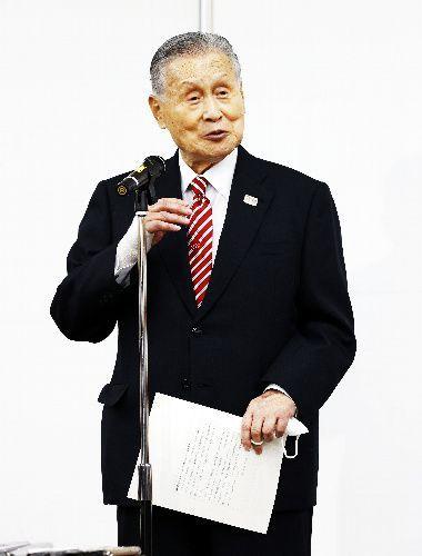 日本オリンピック委員会の女性理事増員方針を巡る発言について記者会見した東京五輪・パラリンピック大会組織委員会の森喜朗会長=2021年2月4日午後2時5分、東京都中央区