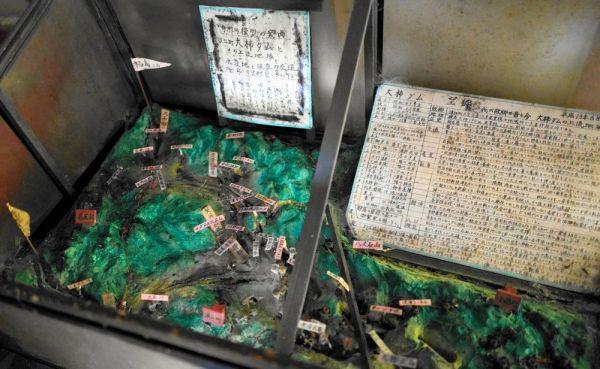 ヤス子さんが作った手製の大柿ダムのジオラマ=2021年2月、福島県浪江町津島地区、三浦英之撮影