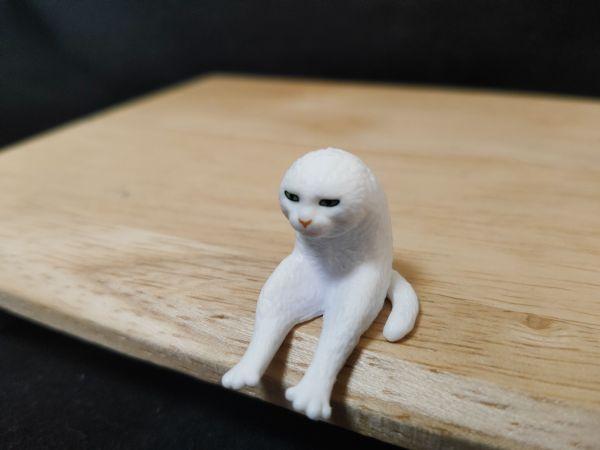 「座る変な猫」の、二足歩行猫