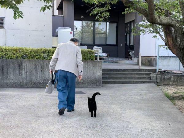 事務所入り口まで「同伴出勤」する馬屋原定雄さんとケンちゃん。翌日から会えないことを察してか、いつになく長くまとわりついていたそうです