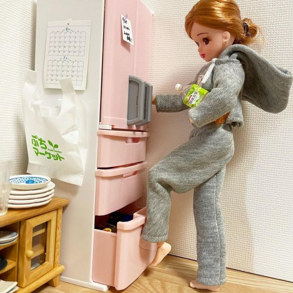 「冷蔵庫を足とお腹で閉めちゃう現実を生きるリカちゃん」
