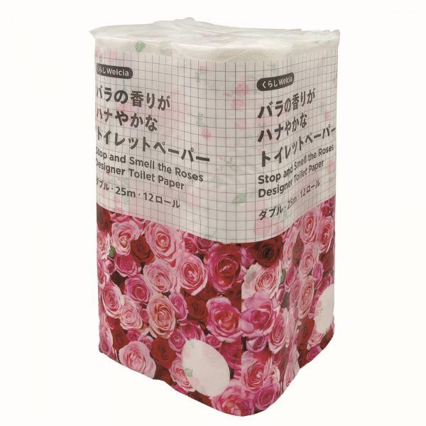 「バラの香りがハナやかなトイレットペーパー」は、「花」と「華やか」のダジャレになっています