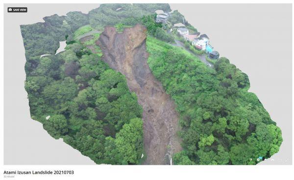 7月4日に静岡県が公開した、ドローンの映像から作った土石流災害の崩壊現場の3Dモデル