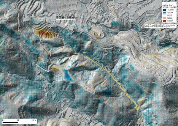 静岡県が2019年に測量したデータと、国土地理院が公表した09年の測量データの差分を表示した地形図の画面。左上の土石流の起点付近で10メートルを越える厚さで土が積み上がっていたことがわかった