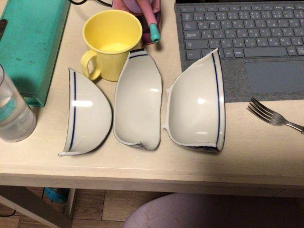 娘から送られてきた写真。やっぱり「サラワレタ」は「皿割れた」でした