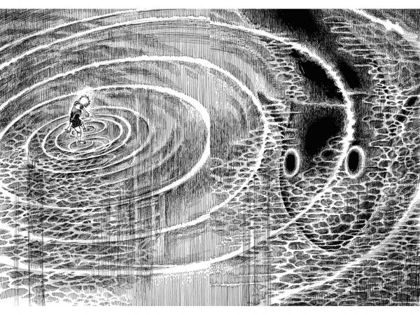 『阿・吽』3巻14話「空と海と」の1シーン。おかざきさんが「大変だったシーン」と振り返ります。(モチーフに「魚」を選んだ理由は記事をご覧ください)