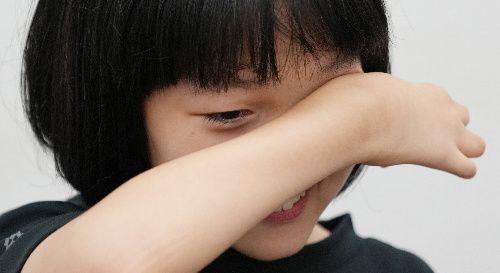 パラリンピックの開会式に出演した和合由依さん。公募のオーディションを思い出し涙を浮かべた=2021年8月26日、東京都中央区、池田良撮影