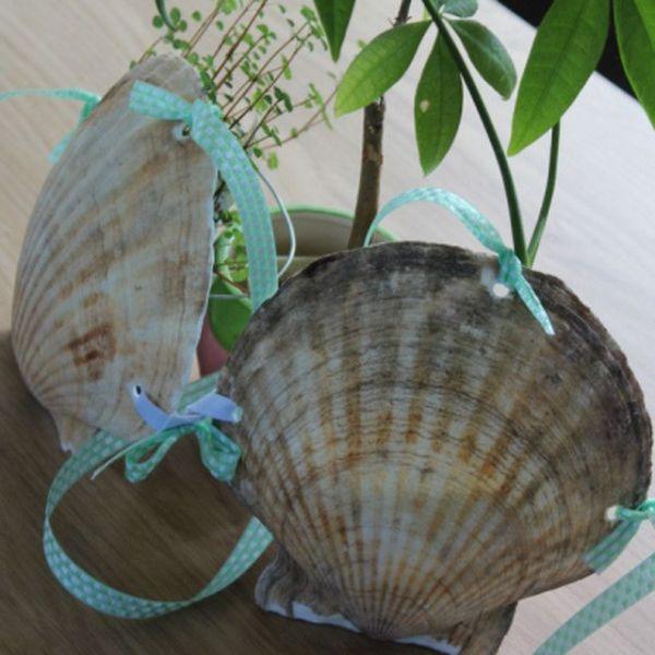 SNS上で話題を呼んでいる、阿部商店の「ホタテ水着」。貝殻をビキニに加工している。