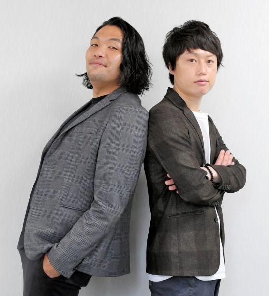 見取り図の盛山晋太郎(左)とリリー=2021年5月、大阪市中央区、滝沢美穂子撮影
