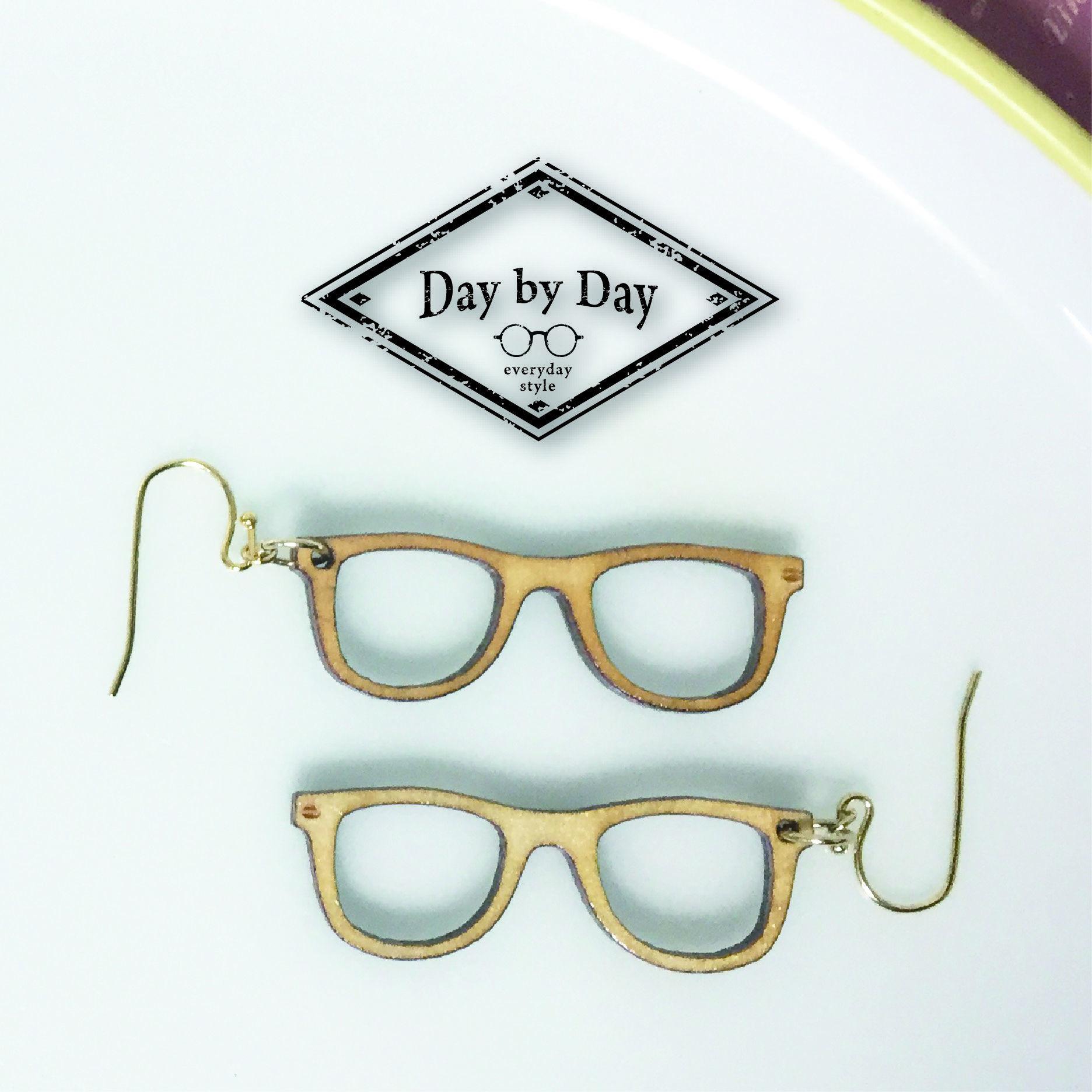 木のピアス/木のイヤリング/木のメガネ