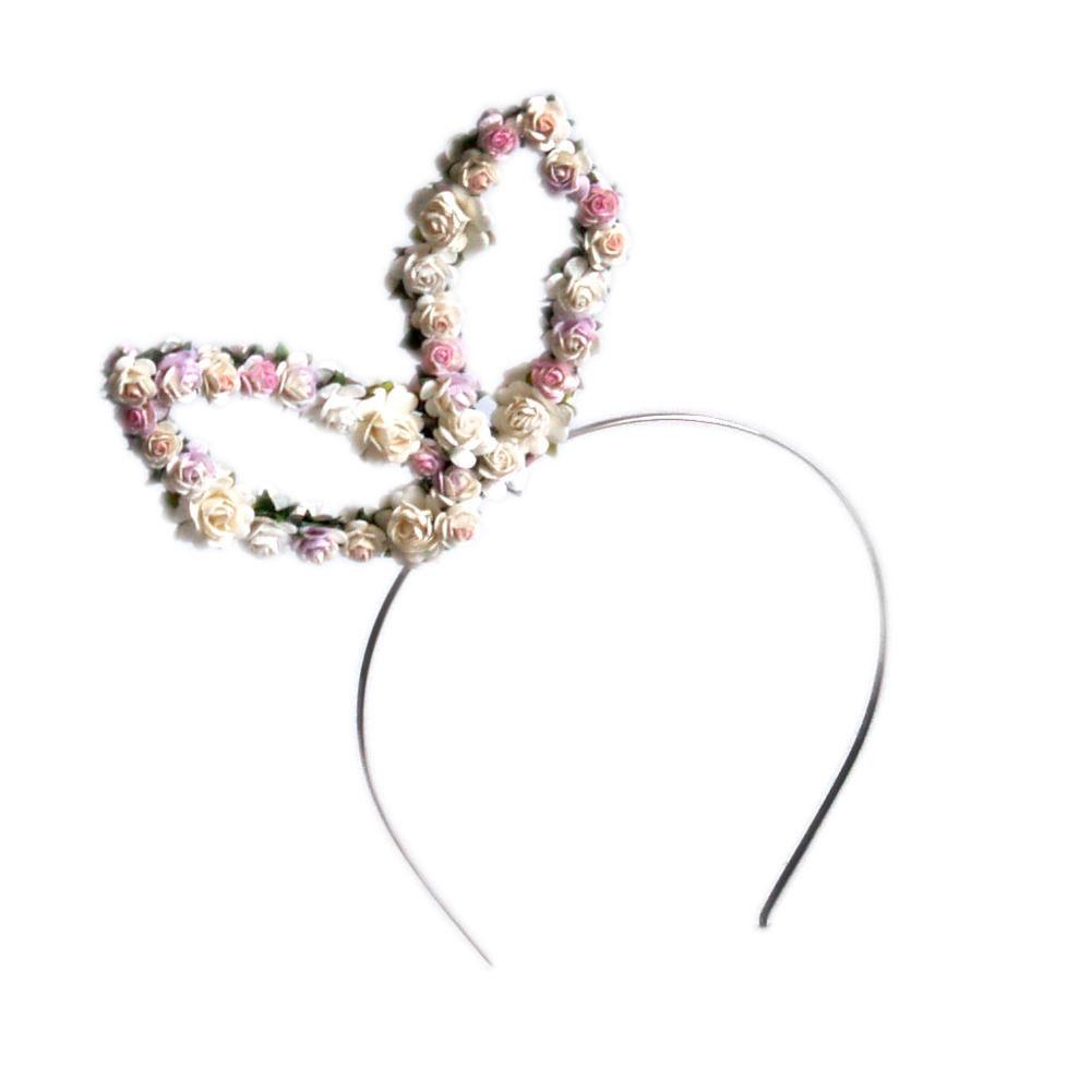 パステルカラーの小花で飾られたバニー耳のヘアバンド★ ガーリーなヘアアクセ(フリーサイズ)☆ヘッドドレス