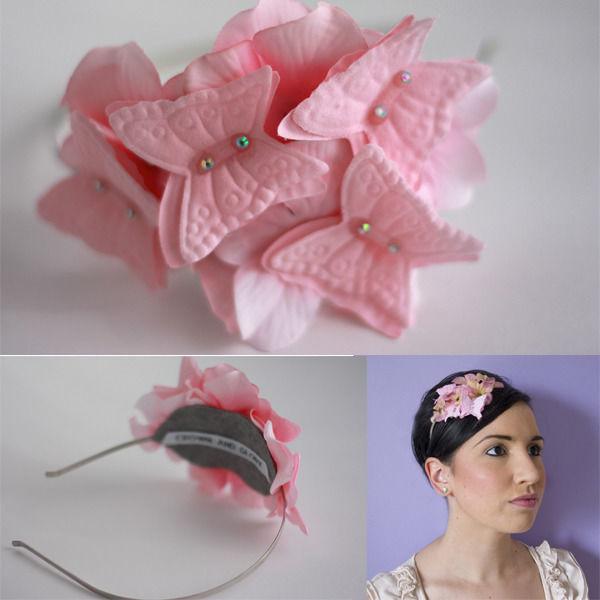 ピンクのお花とバタフライのカチューシャ★ ガーリーなヘアアクセ(フリーサイズ)☆ヘッドドレス
