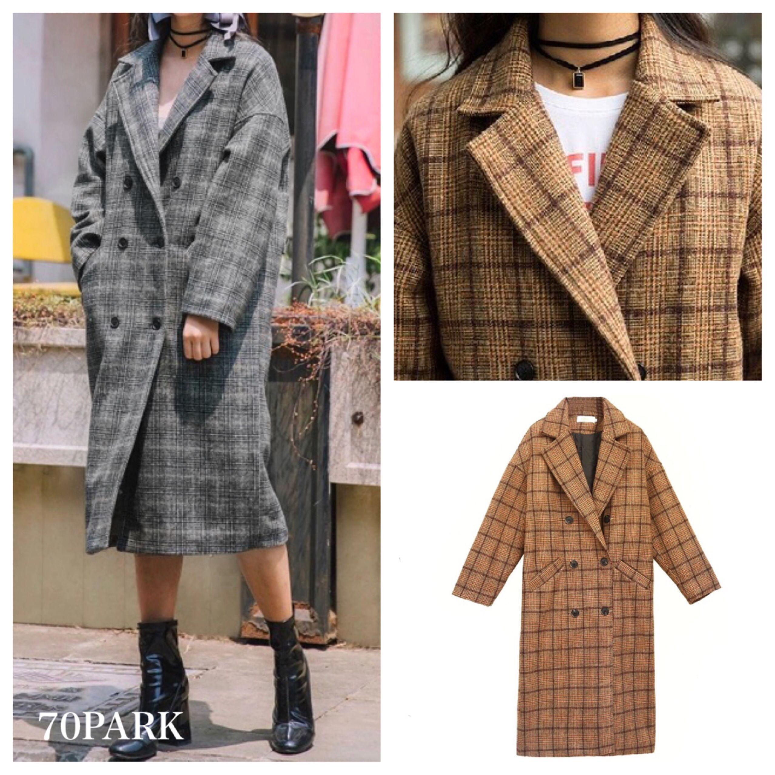 #Glen Check Double Breasted Long Coat グレンチェック ダブル  ロング コート 全2色 グレー ジャケット